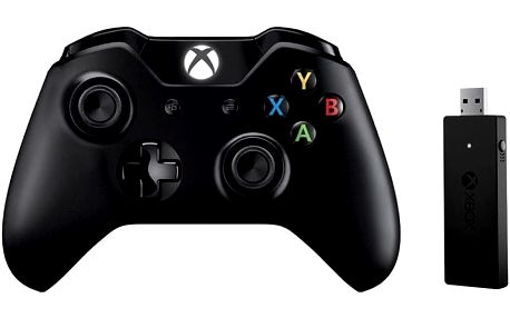 Xbox ONE S Bezdrátový ovladač, černý + bezdrátový adaptér pro Win 10 (PC, Xbox ONE) - CWT-00003