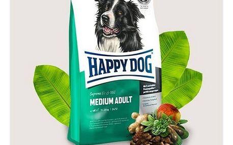 Granule HAPPY DOG MEDIUM Adult 12,5 kg + 2 kg Zdarma Konzerva HAPPY DOG Wild Pur - 100% maso zvěřiny 200 g (zdarma) + Doprava zdarma