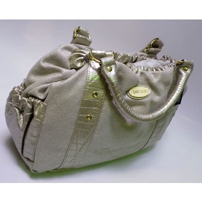 Dámská kabelka Just Cavalli, šedá se zlatými detaily