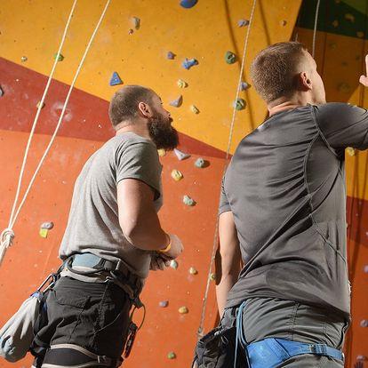 Lezení na horolezecké stěně s instruktorem