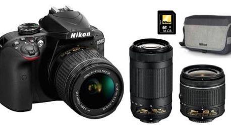 Nikon D3400 digitální zrcadlovka + objektivy 18–55 mm VR a 70–300 mm VR