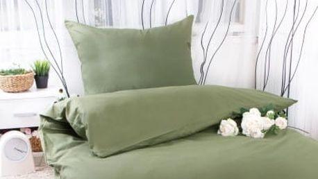 XPOSE ® Bavlněné povlečení na dvě lůžka MICHAELA - olivová 140x200, 70x90