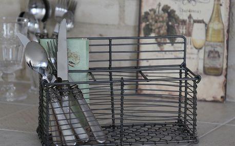 Chic Antique Drátěný košík se 6ti příhrádkami, šedá barva, kov