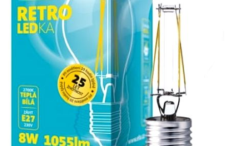 Žárovka LED ETA RETRO LEDka klasik, 8W, E27, teplá bílá (ETA789090008) průhledná