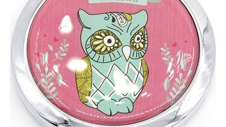 Kapesní kosmetické zrcátko Romantic Owl kovové sova