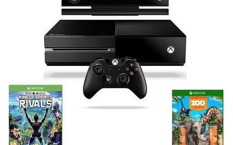 Herní konzole Microsoft 500 GB + Kinect + Sports Rivals + Zoo Tycoon (7UV-00257) černá
