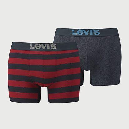 Boxerky LEVI'S 200Sf Rugby Stripe Boxer Brief 2 Pack Červená