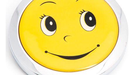 Kapesní kosmetické zrcátko Smile kovové žluté