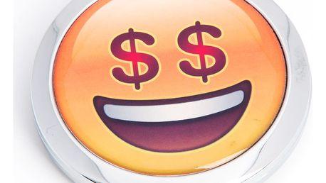 Kapesní kosmetické zrcátko Smile Dollar kovové