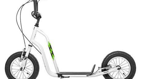 """Koloběžka Yedoo Wzoom 12"""" bílá + Reflexní sada 2 SportTeam (pásek, přívěsek, samolepky) - zelené v hodnotě 58 Kč"""