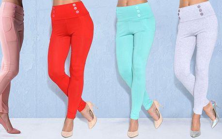 Dámské kalhoty s vysokým pasem a knoflíky