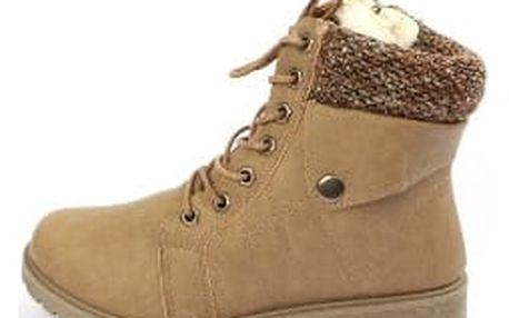 Zateplené dámské kotníkové boty KHAKI