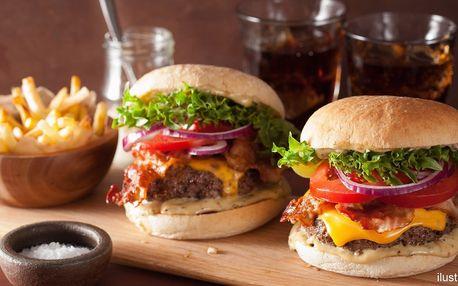 Hovězí burger, domácí hranolky a Pepsi pro dva