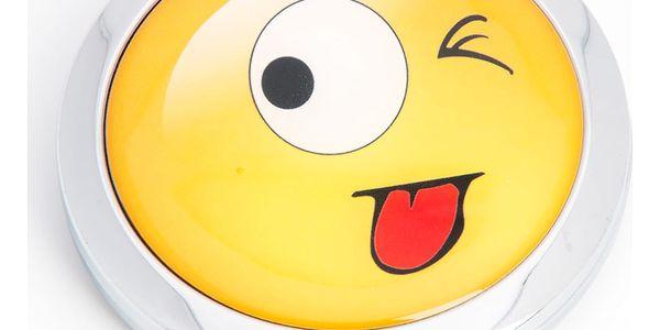 Kapesní kosmetické zrcátko Smajlík Mrknutí a Vyplazení jazyka kovové