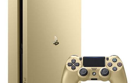 Herní konzole Sony SLIM 500GB + DualShock4 (PS719847960) zlatá
