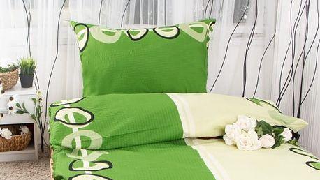 XPOSE ® Krepové povlečení MAGDALENA - zelená 140x200, 70x90
