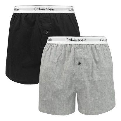 2PACK pánské trenýrky Calvin Klein slim fit černo šedé M