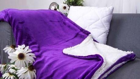 XPOSE ® Deka mikroflanel s beránkem - tmavě fialová 140x200 cm