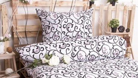XPOSE ® Prodloužené bavlněné povlečení ELIZABETH - bílo černá 140x220, 70x90