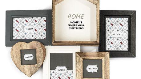 Dřevěný fotorámeček na 5 fotografií