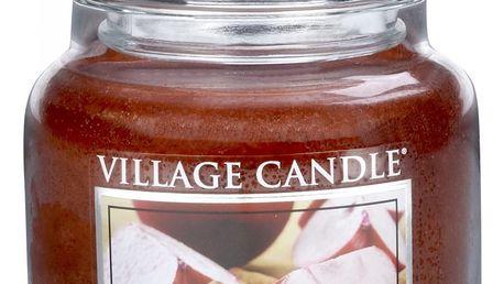 VILLAGE CANDLE Svíčka ve skle Apple Cinnamon - střední, červená barva, sklo, vosk