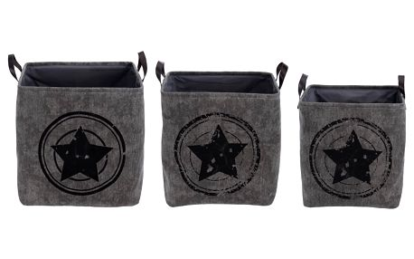 Sada dekoračních úložných boxů Star, šedá