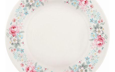 GREEN GATE Dezertní talíř Marie pale grey, růžová barva, šedá barva, bílá barva, porcelán