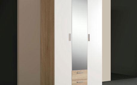 Skříň šatní Nano- dub sonoma/ bílá