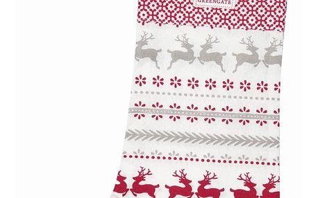 GREEN GATE Vánoční punčocha Ivy white, červená barva, textil