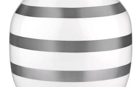 KÄHLER Váza Omaggio Silver 21 cm, bílá barva, stříbrná barva, keramika