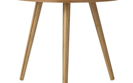 Bloomingville Kulatý dřevěný stolek Bamboo Grey, šedá barva, hnědá barva, dřevo