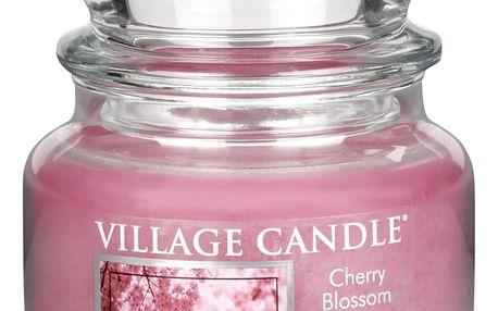 VILLAGE CANDLE Svíčka ve skle Cherry blossom - malá, růžová barva, sklo