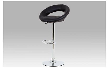 Barová židle černá koženka / chrom
