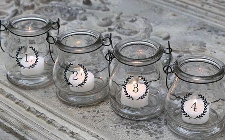 Chic Antique Skleněné adventní lucerničky s čísly 1-4, čirá barva, sklo