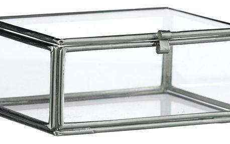 MADAM STOLTZ Skleněná krabička Glass, čirá barva, sklo, kov