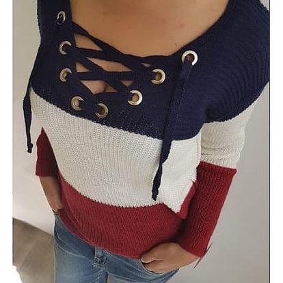 Dámský pruhovaný svetr s vázáním Jodi