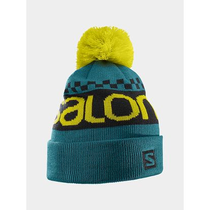 Čepice Salomon FREE BEANIE Blue Steel/BLACK/ALPHA YELL Zelená
