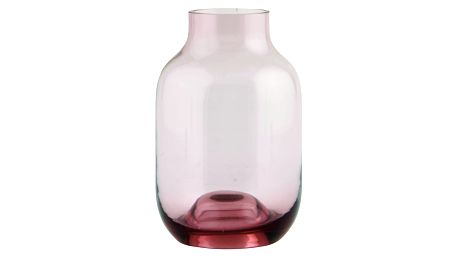 House Doctor Skleněná váza Aubergine 14cm, růžová barva, sklo