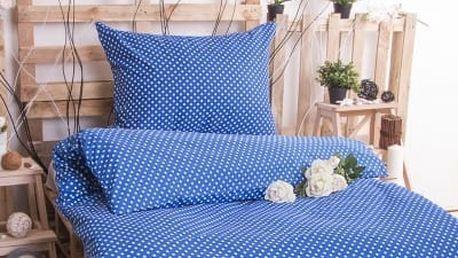 XPOSE ® Prodloužené bavlněné povlečení MARKÉTA - modrá 140x220, 70x90