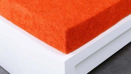 XPOSE ® Froté prostěradlo Exclusive dvoulůžko - tmavě oranžová 180x200 cm