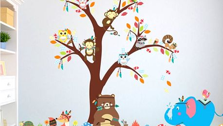 Strom a zvířátka indiáni 100 x 150 cm