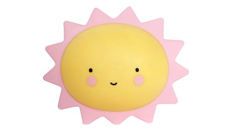 A Little Lovely Company Noční LED lampička Sun, růžová barva, žlutá barva, plast