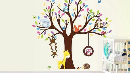 Exotická zvířátka a strom 108 x 109 cm