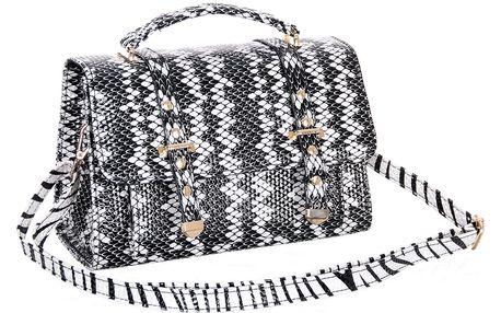 Fashion Icon Menší kabelka kufr hadí motiv lakovaná