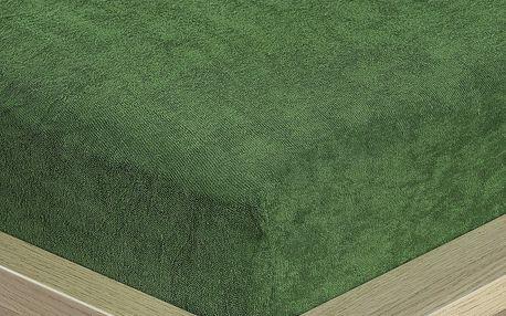 4Home froté prostěradlo olivově zelená, 160 x 200 cm