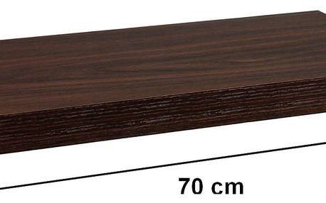 STILISTA 31060 Nástěnná police VOLATO - tmavé dřevo 70 cm
