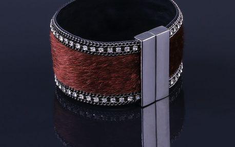 Fashion Icon Náramek s kůží a krystalky
