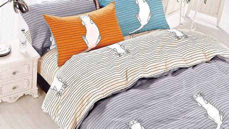 DecoKing Bavlněné povlečení Kitty Bed šedá, 135 x 200 cm, 80 x 80 cm