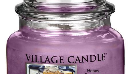 VILLAGE CANDLE Svíčka ve skle Honey Patchouli - malá, fialová barva, sklo, vosk