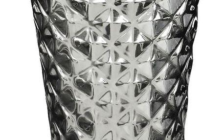 Tine K Home Svícen Facet glass Grey 15 cm, šedá barva, sklo